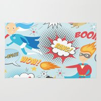 super heroes Area & Throw Rugs featuring Super Heroes by Petit Griffin
