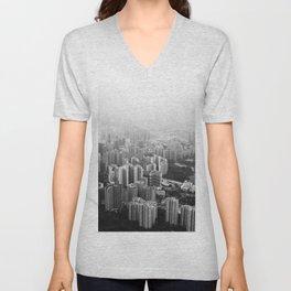 The Cityscape (Black and White) Unisex V-Neck