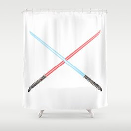 Crossed Light Sword Weapons Shower Curtain