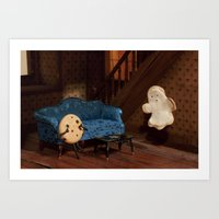 haunted mansion Art Prints featuring Haunted Cookie Mansion by Cuddles and Rage