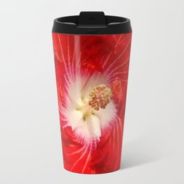 COFFEE BROWN RED & WHITE HIBISCUS FLOWER Travel Mug