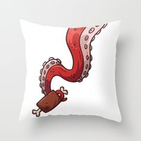 carnage Throw Pillows featuring Tentacle Meat Party - Carnage Crimson  by firestarterdesign