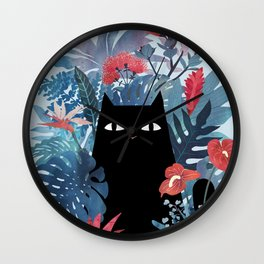 Popoki in Blue Wall Clock