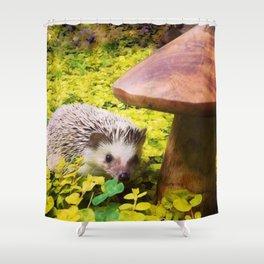Juni Hedgehog Mushroom Shower Curtain