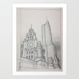 Chicago - Wrigley Clock Art Print