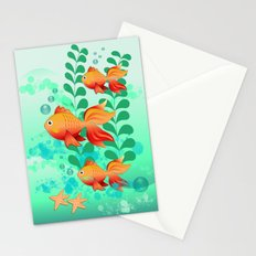 Goldfish in a blue ocean Stationery Cards