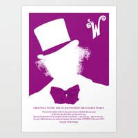 willy wonka Art Prints featuring Willy Wonka Tribute Poster by stefano manca