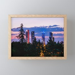 Cityscape of financial district of Madrid at sunset Framed Mini Art Print