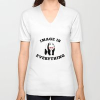 stickers V-neck T-shirts featuring Panda Hipster by mailboxdisco