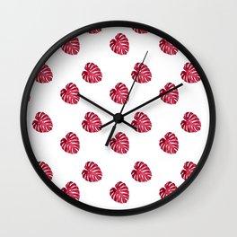 red leaf pattern Wall Clock