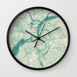 Ottawa Map Blue Vintage Wall Clock