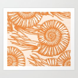 AMMONITE COLLECTION ORANGE Art Print