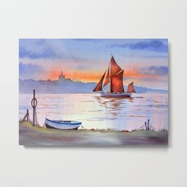 Thames Barge At Maldon England Metal Print
