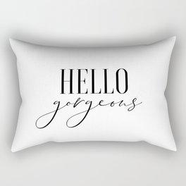 Hello Gorgeous, Modern Wall Art, Printable Art, Gift For Her, Bedroom Decor Rectangular Pillow