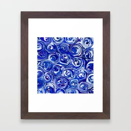 China Blue Paint Swirls Framed Art Print