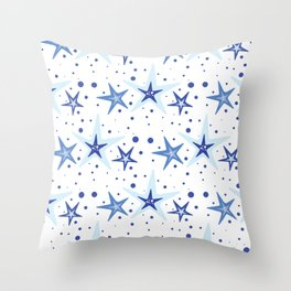 The pattern with starfish blue Throw Pillow
