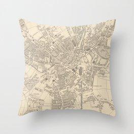 Vintage Map of Bradford England (1851) Throw Pillow