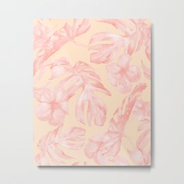 Tropical Dream Palm Leaves Pink and Coral Peach Metal Print