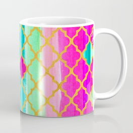 Moroccan Tile Pattern In Neon Pink And Green Coffee Mug