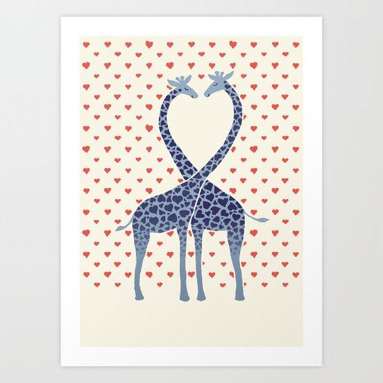 Giraffes in Love - a Valentine's Day illustration Art Print