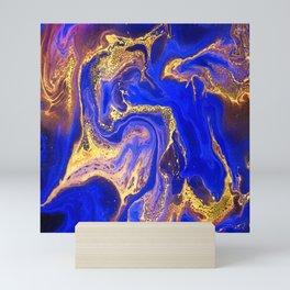 Marble gold and deep blue Mini Art Print