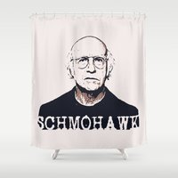 larry Shower Curtains featuring Schmohawk  |  Larry David   by Silvio Ledbetter