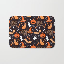 Halloween party illustrations orange, black Bath Mat