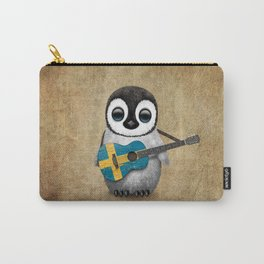 Baby Penguin Playing Swedish Flag Guitar Carry-All Pouch