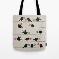 Tote Bags featuring Birdsong Gosh by Rachel Burbee & Garima Dhawan by Garima Dhawan