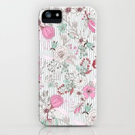 Mauve pink pastel green rustic floral gray stripes iPhone Case