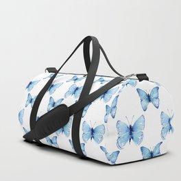 Blue Butterflies Pattern Butterfly Watercolor Duffle Bag