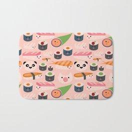 Kawaii sushi light pink Bath Mat