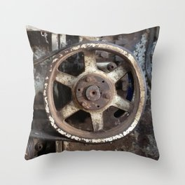 Cotton Gin Motor Belt and Wheels Throw Pillow