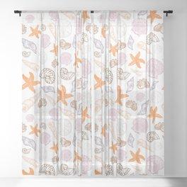 Seashell Print Sheer Curtain