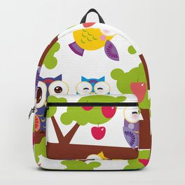bright colorful owls on the branch of a tree with red apples Backpack