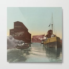 South Branch of the Chicago River at 14th Street 1900 Metal Print