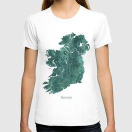 Ireland Watercolor Emerald Green Map Art by Zouzounio Art T-shirt