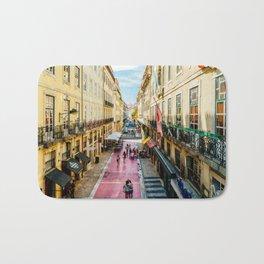Beautiful Pink Street Downtown Lisbon City, Wall Art Print, Modern Architecture Art, Poster Decor Bath Mat