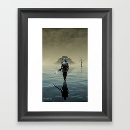 The hardest battle lies within (Blue Tunic Variant) Framed Art Print