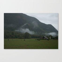 Foggy Barnyard Canvas Print