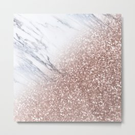 Blush Pink Sparkles on White and Gray Marble V Metal Print