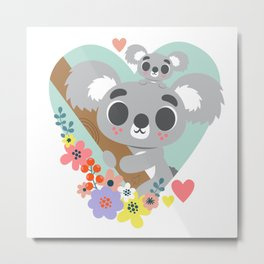 Koala Bear Love / Cute Animal Metal Print
