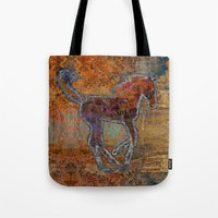 pony Tote Bags featuring Pony by evisionarts