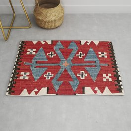 Blue Diamond Arrow Konya II // 19th Century Authentic Colorful Red Cowboy Accent Pattern Rug