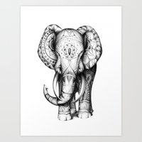 ornate elephant Art Prints featuring Ornate elephant by Creadoorm