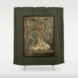 """""""Mermaid and Octopus"""" by David Delamare Shower Curtain"""