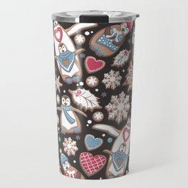 Penguin Christmas gingerbread biscuits Travel Mug