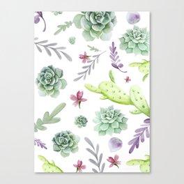 Cactus Watercolor Pattern 2 Canvas Print