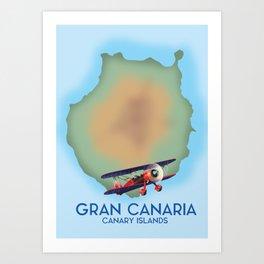 Gran Canaria canary island, travel poster Art Print