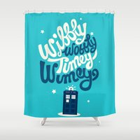 risa rodil Shower Curtains featuring Wibbly Wobbly Timey Wimey by Risa Rodil